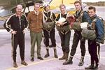 SLK:n hyppääjät, Malmi, kesä 1963. HM K Laurila (v), ohjaaja Kalevi Nordman, HM-harjoittelija  A Takkala, E Ylinen, V Haatanen ja Tapio Laine. Kuva: via Vainio