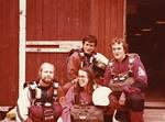 15.4.1976, Malmi, hyppäämään lähdössä Lauri Oksanen, Marit Oksanen, Veikko Rissanen ja Kari Hallikainen. Kuva: Lake