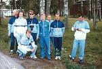 1987 esikisat,  Nyköping. Suomen joukkue: J Laamanen (v), S Nieminen, P Kivinen, V Korhonen, tuomari E Kausalainen, T Soini, T Satamo ja jjoht. H Laitinen. Kuva: KausE