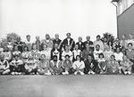 """Taito- ja tarkkuus-MM, 28.7.-7.8.1988. Tuomaristo: keskirivi 5. vas. alkaen R Henrysson, ylituomari """"Buzz""""  Bennett, Lajituomarit S Leifher-Lindahl, E Kausalainen ja tuomarikouluttaja R Flinn. Kuva: KausE"""